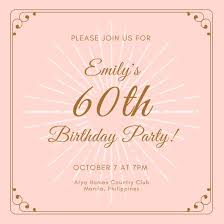 60 birthday invitations customize 987 60th birthday invitation templates online canva