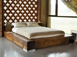 Contemporary Natural Brown Reclaimed Solid Wood Bed Frame With Slim Foam  Mattress With Cheap Modern Bedroom