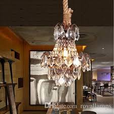 bar antique rustic res de cristal pendant lights rope iron crystal hanging lamp fashion american industrial loft cafe light contemporary ceiling lights
