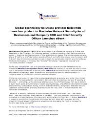 global technology solutions provider netswitch launches product to maximize network security for all businesses and comp network security officer