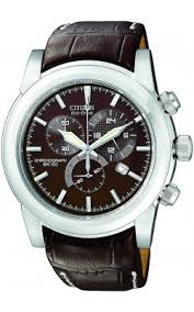 leather band watches citizen men s eco drive stainless chronograph watch brown leather strap brown dial