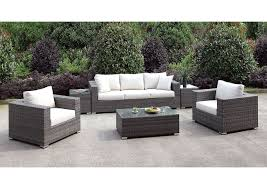Somani light gray ivory wicker patio set sofa 2 chairs 2 end