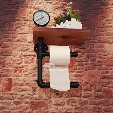 Image Retro Homerises Industrial Pipe Toilet Paper Holder Wood Wall Mount