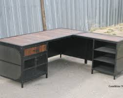 industrial style office furniture. Modern Industrial L Shaped Desk. Steel And Reclaimed Wood Desk With Return. Style Office Furniture F