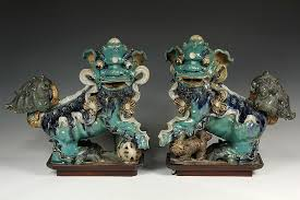 pair of chinese roof tile finials ming dynasty glazed stoneware foo dog finials in
