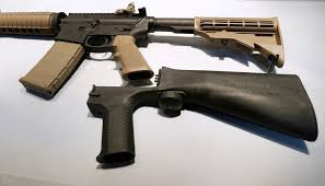 A bump stock is a plastic or metal device that can be attached to the rear of a semiautomatic rifle to application of the definition of machinegun to 'bump fire' stocks and other similar devices. Trump Directs Justice Department To Ban Gun Modifications Like Bump Stocks Used In Las Vegas Shooting Pbs Newshour