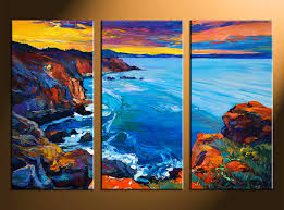 Small Picture 3 Piece Multi Panel Canvas Blue Ocean Oil Paintings