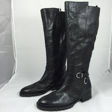 details about tesori women s black valencia wide calf leather equestrian boots sz 8 m