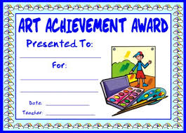 achievement awards for elementary students art and music award certificates