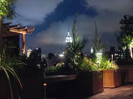 rooftop lighting. rooftop garden in manhattan at night lighting designed for this outdoor deck with the empire t