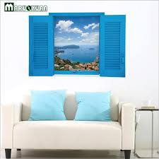 blue office decor. maruoxuan new beautiful sea blue sky window view 3d wall stickers scenery living room office home decor i
