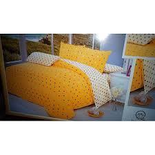 6pc cotton duvet cover set 6x6 yellow cream polka dot