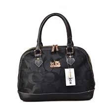 Coach Madison Signature Medium Black Satchels DOM
