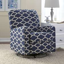 Sutton BlueWhite Fabric Swivel Recliner Home Blue And And The - Swivel recliner chairs for living room 2