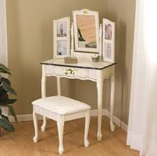 diy corner makeup vanity. Delightful Corner Makeup Vanity Ideas Featuring Glass Top Desk With Rotating Mirror Flanked By Double Side Photo Frame Plus Cabriole Legs White Fabric Stool Diy S