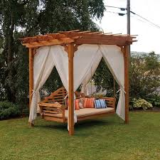 porch swing canopy outdoor daybed red patio 3 person gazebo deck 19 recettemoussechocolat