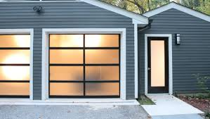Aluminum Clear Glass Garage Door With A Passing Door With