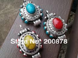 whole tgb070 nepal india antiqued silver colorful beads prayer box pendants tibetan prayer box amulet turquoise c amber key pendant necklace long