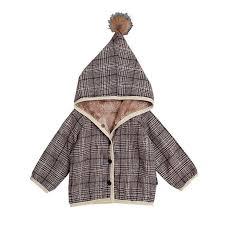 0 2t baby coat cotton infant winter clothing school style children baby girls boys plaid long