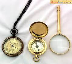 artshai combination of pocket watch magnetic compasagnifying glass quality brass s
