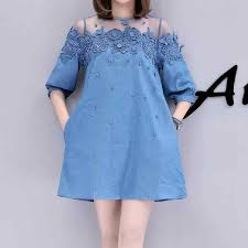 <b>Plus Size</b> Lace Patchwork Summer <b>Women</b> Denim Dresses <b>Half</b> ...
