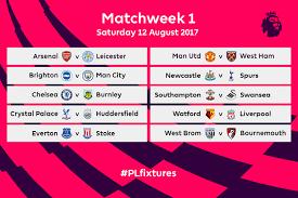 premier league fixtures for 2017 18