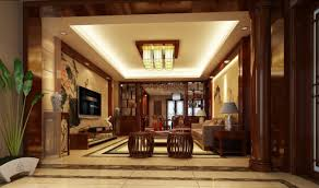 Interior:Elegant Chinese Living Room With Wooden Pillars Elegant Chinese  Living Room With Wooden Pillars
