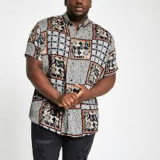 River Island Mens Big And Tall Black Animal Tile Revere Shirt