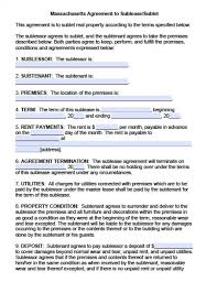 Sublease Agreement Samples Free Massachusetts Sublease Agreements Pdf Word Doc