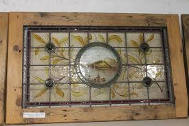 reclaimed large victorian stained glass panel in pine frame 2