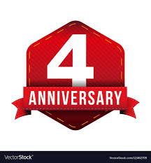 Anniversary Ribbon Four Year Anniversary Badge With Red Ribbon Vector Image