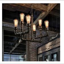 loft vintage retro wrought iron black pipe chandelier pulley industrial lamps e27 edison pendant lamp home
