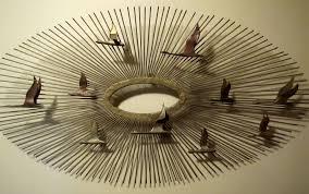 product details on metal sculpture wall art birds with antiqueoyster c jere metal wall art sculpture mid century sunburst