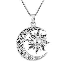 moon and sun eclipse sterling silver necklace