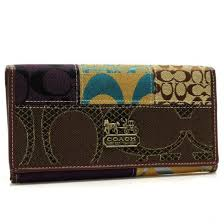 Coach Holiday Fashion Signature Large Coffee Wallets 22892
