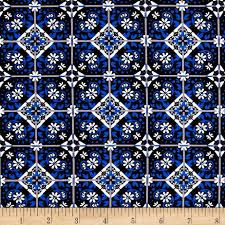 Spanish Fabric Designs Telio Bloom Stretch Cotton Sateen Spanish Tile Print Blue