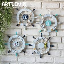 Boat Decor Accessories Fascinating Mediterranean Marine Wall Decoration Wood Boat Rudder Craft Home
