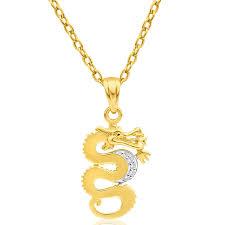 gold diamond dragon pendant image