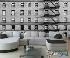 Wall Mural Decal Sticker Building Apartment Black & White 5ft Tall
