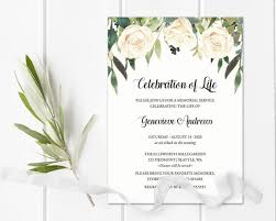 Memorial Service Invitation Template Beauteous Celebration Of Life Invitation Template Funeral Announcement Etsy
