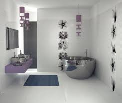 bathroom: Fascinating White Interior Decoration Of Modern Bathroom Style  Decoration Using Glossy Wall Tiles And