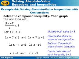 example 4a solving absolute value inequalities with conjunctions