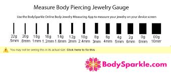 ear gauging chart actual size body jewelry gauge size chart piercing earring sizes body jewelry