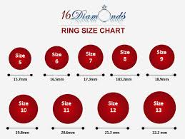 Actual Size Ring Size Chart 16 Diamonds Ring Size Chart