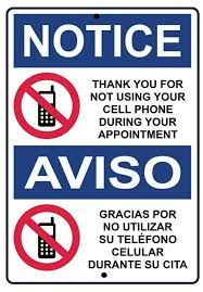 Bilingual No Cell Phone Acrylic White Interior Sign | Etsy