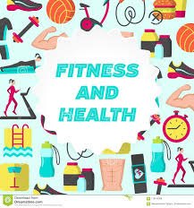 Fitness Health Fitness And Health Flat Poster Stock Vector Illustration