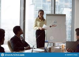 Female Asian Worker Make Flipchart Presentation At Meeting