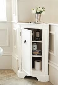 Long Storage Cabinet Mesmerizing White Painted Bathroom Floor Cabinet Completed With
