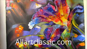 large colorful flower painting palette knife and texture