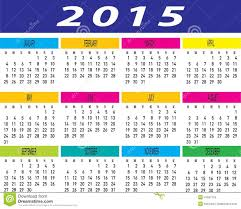 Template Monthly Calendar 2015 Vector Of Year 2015 Colorful Monthly Calendar Template Stock